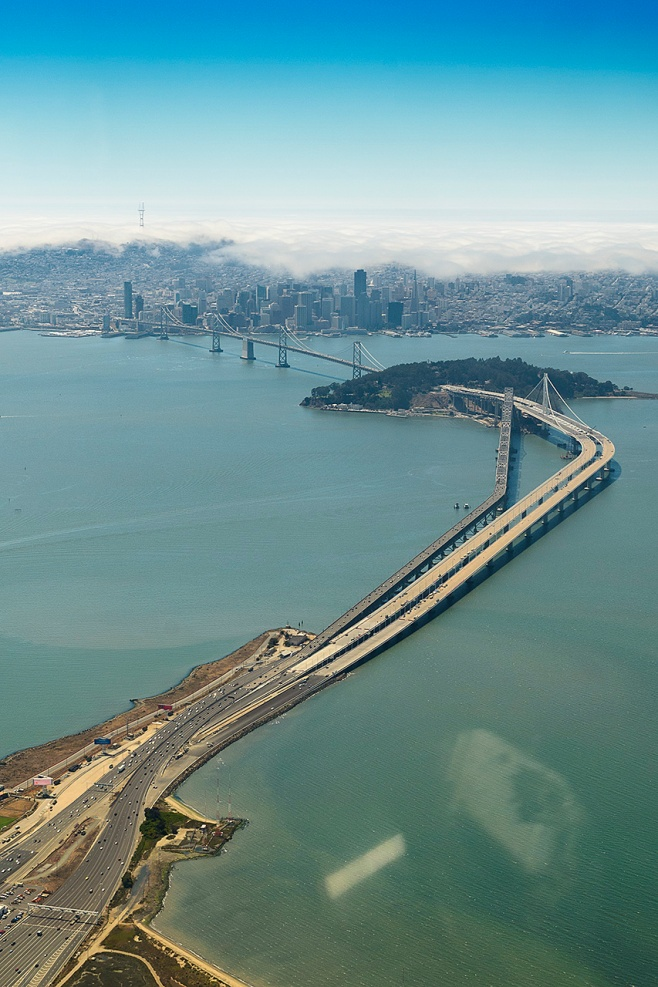 The new bay bridge eastern span with Treasure Island and San Francisco in the background.