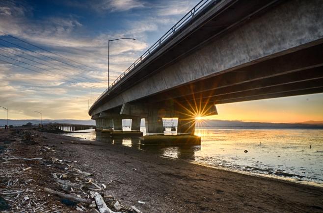 Dumbarton bridge at sunset